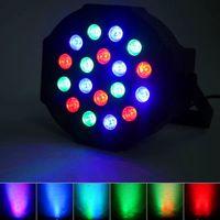 30W 18-RGB светодиодный авто / голосовой контроль DMX512 высокая яркость мини яркости Мини-сценическая лампа (AC 110-240V) черные туманные движущиеся головки