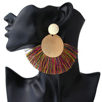 Quaste Ohrringe für Frauen Mode-Aussage ZA 2019 Boho Big Gold Pompom Drop Fransed Femme Ohrringe Pendientes Schmuck