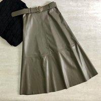 Saias tigena outono inverno pu saia mulheres cinto de moda uma linha alta cintura midi longo faux couro feminino mulheres trabalho escritório