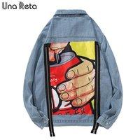 UNA Reta Denim Ceket Erkekler Için Streetwear Baskı Jean Ceket Erkekler Sonbahar Yeni Baskı Artı Boyutu Rahat Uzun Kollu Hip Hop Ceket
