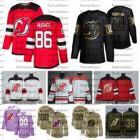 2021 Personalizza # 86 Jack Hughes New Jersey Devils Jerseys Golden Edition Camo Veterans Day Fights Cancer Custom Stitched Hockey Jerseys