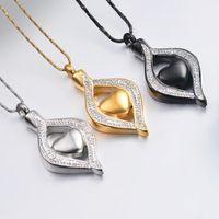 Cristal Lágrima Heart Hearmation Urn Colgante colgante Memorial Collar para mujeres de acero inoxidable Ashes Holder Soporte Joyería de recuerdo1