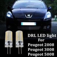2X 자동차 LED 낮 러닝 조명 DRL 전구 2009 년 이상 푸조 3008 2008 5008 아니오 오류 HP24W G4 12V LED DRL 조명 액세서리