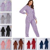 Femmes Gilrs Kids Eartes 3D Eartes Romper Peluche Peluche Sherpa Combinaison Polaire Hiver Fluffy Zip Nightwear Nightwear Pyjamas Cartoon Playssuit Vêtements mignons LY121701
