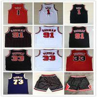 أفضل رجل قمصان رياضية التطريز 1 # ديريك روز جيرسي الأحمر دودة 91 # دينيس رودمان أحمر أبيض أسود 33 # Scottie Pippen Jersey مخيط