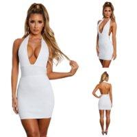 2021 женские дизайнеры сплошные цвета Halter женщин сексуальная ночь клубная одежда сексуальный беглый беглый бедро платье рукав с низким разрезанным глубоким V шеи тонкий