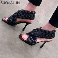 Suojialun Sommer Marke Design Webart Sexy dünne High Heel Kleid Slip auf Peep Toe Pumpe Outdoor Sandale Schuhe Q1217