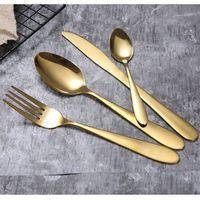 4 قطعة / المجموعة الذهب السكاكين سكين أطباق مجموعة الفولاذ المقاوم للصدأ أدوات المائدة الغربية أواني الطعام شوكة ملعقة ستيك سفر عشاء مجموعة CCA2368