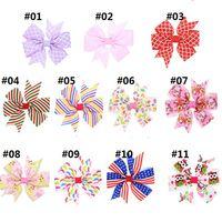 Baby Girls 3.3 pulgadas Arcos Clips para el cabello Barrettes Stripe Dot Heart Ribbon Horquillero Niños Tocado Huuilin DW91