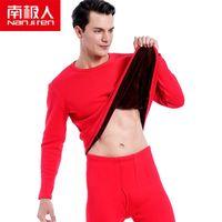 Nanjiren الرجال العلامة التجارية الحرارية مجموعات الملابس الداخلية الرجال الأحمر الدافئة عارضة الملابس الداخلية هايت تمتد طويل جونز مجموعة منامة menthermal القديم