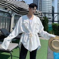 M-XL !! Sonbahar yeni karanlık kişilik bel tasarım erkek gevşek rahat ceket gençlik vahşi erkekler ve kadın ceket gelgit.