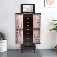 Ювелирные изделия кабинета кабинета кабинета кабинета сундук для хранения грудной клетки Организатор зеркало с 7 ящиками деревянные ювелирные изделия зеркало кабинета США