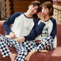 Autumn Winter New Fashion Couples Pajamas Men and Women Matching 100%Cotton Sleepwear Pajama Set Couple Couple Loungewear Pijama