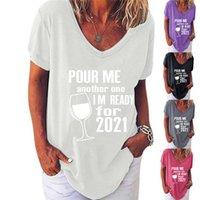 Artı Boyutu Kadın Tasarımcı T-shirt Yaz Şarap Kupası Trendy T Gömlek Başka Birbirim Birlikte Birbirim Hazır 2021 Mektup Tişört Bluz Tee G10501 Tops