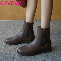 Stivali Esveva 2021 Elegante Slip on caviglia Donne Winter PU + scarpe in vera pelle rotonda taglia 34-401