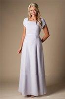 간단한 라일락 긴 쉬폰 겸손한 신부 들러리 드레스 캡 슬리브 싼 웨딩 파티 드레스 A-Line Heaks of Honor Dress New