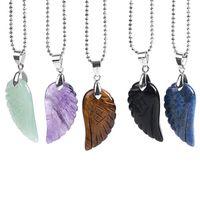 New Summer Beach Jewelry Angel Ala Ciondolo Gemstone naturale Gemstone Collana a farfalla Obsidiana Lapis Lazuli Unisex Collier WQ534
