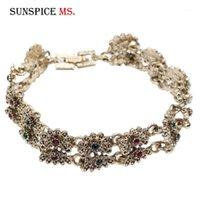 Sunspice MS retro oro plateado color mujer pulsera vintage turco flor de metal encanto cadena de muñeca étnica joyería de la boda 20201