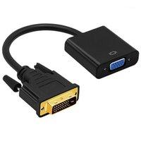 Conectores de cables de video DVI a Cable adaptador VGA 1080P DVI-D 24 + 1 25 Pin Male 15 Convertidor femenino para PC Pantalón1