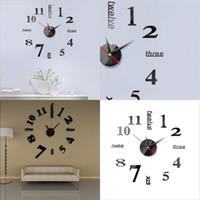 Originalidad DIY Reloj de pared Acrílico Espejo Etiquetas de espejo 3D Muebles para el hogar Decorar el hogar Relojes de alta calidad 5 6JW F2