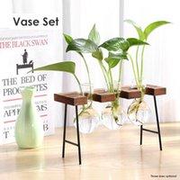 Vintage Teraryum Hidroponik Bitki Vazolar Saksı Şeffaf Vazo Ahşap Çerçeve Cam Masa Bitkileri Ev Bahçe Dekor C0125
