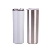 Personalizado 20 oz 30oz Sublimación recta flaca delgada Vaso de acero inoxidable Vacío de doble pared aislado con tapa sellada y paja de metal