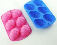 Yeni Ev 6 Kavite Paskalya Yumurta Şekli Pişirme Tepsi Silikon Kalıp Tatlı Silikon Kek Çikolata Pişirme Kalıpları Silikon Dekorasyon Aksesuarları