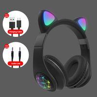 M2 Cat Ear Luminous Headphones سماعات رأس سماعة بلوتوث لاسلكية مع مايكروفون هدايا الأطفال