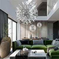 Modern Minimalist Spark Topu Paslanmaz Çelik LED Avize Villa Otel Mall Restoran Star Sparkle Topu Avize Yuvarlak Top Lambası