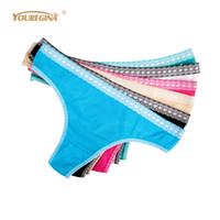 Yuregina Micro Thong Женщина G string Сексуальные бесшовные трусики хлопчатобумажные белье белье нижнее белье женское белье 5 шт.