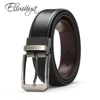 Elimiiya cuir véritable pour hommes de haute qualité Black Boucle de jeans ceinture Cowskin occasionnel Ceintures réversibles Ceinture d'affaires Cowboy taille T200427