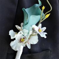 1 Stück Hochzeit BOUTONNIERE 6 Farbe Bräutigam Groomsman Pin BROOCH Künstliche Calla Corsage Anzug Dekor Calla Blume Zubehör