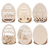 10 stks Natuurlijke Houten Chip Ornamenten Pasen Egg Hanger Party Props Home Decor met gat Scrapbooking Embullishments Kinderen DIY Crafts