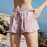 Outfits Йоги на шнуровке сплошной цвет женские спортивные шорты бегущие фитнес тренировки одежда для женских поддельных 2 штуки с карманным модой 1