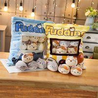 Puding Kediler Çanta Mavi Sarı Peluş Mini Hayvanlar Bebekler 8 Parça Snack Çanta Gıda Plushie Çocuklar Noel Hediye 40 * 38 cm 201212