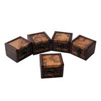 Javrick Vintage Mapa de madera Caja de almacenamiento caja de joyería gemelos Pecho Pequeño Regalo Nuevo