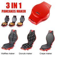 220-240V 800W Elektrische Waffelmacher 3 in 1 Frühstück Donut / Kuchen / Sandwich / Pancake / Omelettmaschine Home Multifunktionsgeräte1