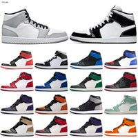 Nike Air Jordan 1 AJ1 2020 새로운 남성 여성 바구니 공 신발 1s 연기 회색 높은 og 바이오 해킹 혈액 새틴 - 뱀 시카고 트레이너 운동화