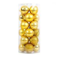 Decorações de Natal Surwish 24 pçs / lote 4 cm bola pendurado árvore ornamentos para decoração de festa de natal - dourado / vermelho / branco / verde1