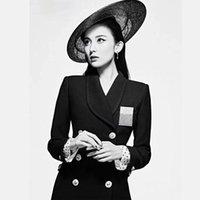 mola mulher terno início New Luxo Rhinestone Abotoamento Almofada de Ombro Slim Fit selvagem Blazer preto Cor Azul feminino