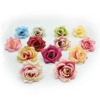 Декоративные цветы венки 10 шт. 6 см шелковые розы цветок стены украшения дома аксессуары скрапбукинг diy подарки рождественская гирлянда artishia
