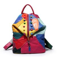 A estrenar Retro Cuero genuino Sheepskin Lady Backpack Designer Viajes Colorful Patchwork Luxury Shopper Bag Mochila 201120