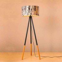 İndirim Yaratıcı Sıcak Kişilik Yuvarlak Ahşap Dikey Tripod Zemin Lambası Işık Ile ABD Fiş Modern Tasarım Zemin Lambaları