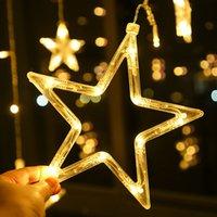 LED Curtain Light Star e Luna vacanze luce della stringa della lampada della decorazione impermeabile per la cerimonia nuziale, Luce di Natale 10pcs T1I2985