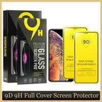 Verre trempé de la couverture complète 9D pour iPhone 11 PRO Max XS Max XR Screen Protector Package Paquet anti-rayures TÉLÉPHÉRIQUE POPIÈRE PLOYAGE
