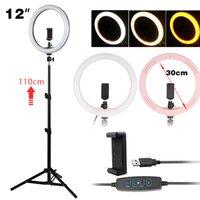 12inch LED الدائري ضوء عكس الضوء التصوير selfie حلقة الإضاءة مصباح مع حامل ترايبود حامل ماكياج الفيديو لايف ل tik toks ins
