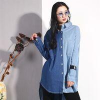 Lanmrem осень одиночный погруженный лоскутный джинсовый карманный карман для женщин мода куртка Batwing с длинным рукавом MA705 201217