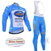 DELKO Takım Kış Termal Polar Bisiklet Jersey Önlüğü Pantolon Setleri Erkek Uzun Kollu Gömlek Bisiklet Kıyafetler Açık Sportwear S21012104