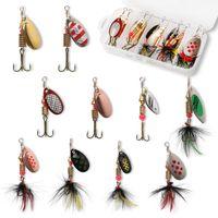 10 pcs isca de pesca spinnerbait, bass trutas salmão hard metal spinner iscas kit com caixas de tackle