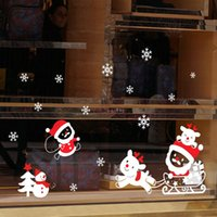 ملصقات الحائط SANTA CLAUS Electrostatic Snowflake للمتجر زجاج نافذة عيد الميلاد ديكور تصميم الشارات ديكور المنزل